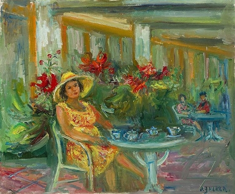 Jacques Zucker Woman in Cafe oil on canvas