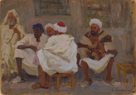 Arnold Lakhovsky Russian Orientalist Scene Men on a Village Street Oil on Board