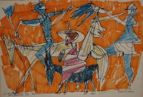 Marcel Janco Don Quixote Watercolor on Paper