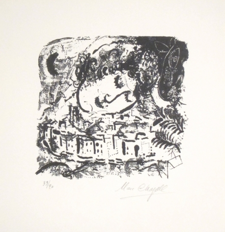Marc Chagall Le Village, Paris 1957 Lithograph