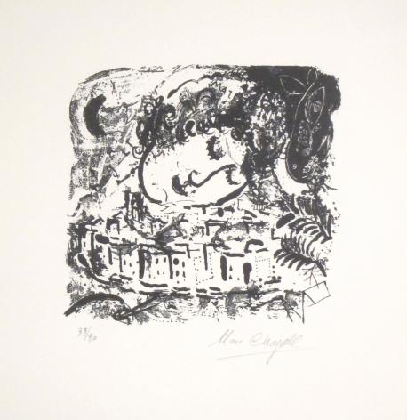 Marc Chagall Le Village, Paris 1957 Lithograph