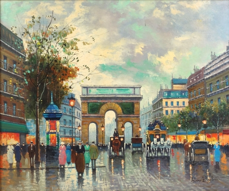 Antoine Blanchard Paris Street Scene oil on Canvas Signed