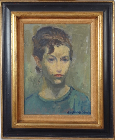 Raphael Soyer Portrait of A Young Woman Oil on Canvas