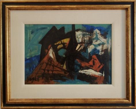 Marcel Janco Israeli Artist Untitled Abstract Oil on Board Signed