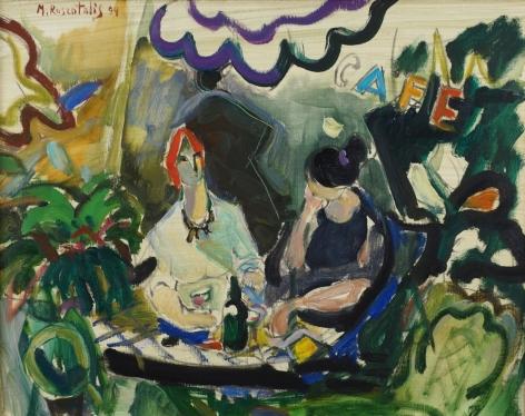 Moshe Rosenthalis Israeli Two Women in Cafe Oil on Canvas