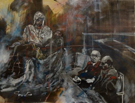 Uri Lifshitz Israeli Artist Pieta Oil on Canvas Signed in Hebrew
