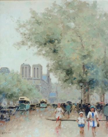 Andre Gisson Paris Street Scene Oil on Canvas