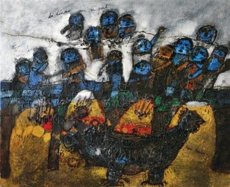 Theo Tobiasse French/Israeli Les hommes sur un Pont, 1967