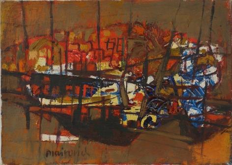 Zvi Mairovich Haifa Port Oil on Canvas