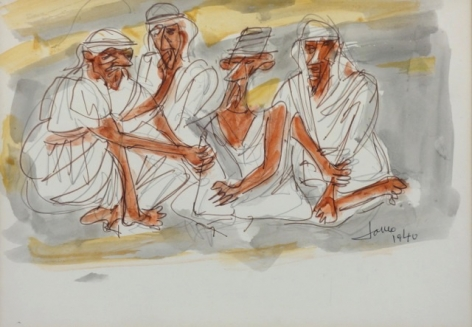 Marcel Janco Bedouins Drawing Watercolor