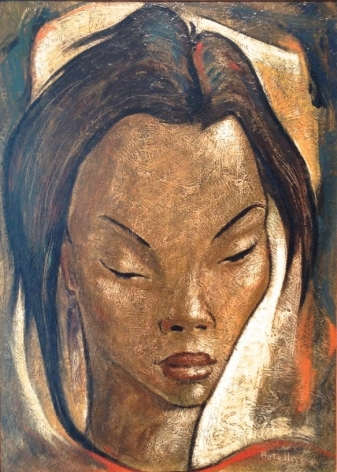 Angel Botello Haitian Girl Oil on Masonite Signed