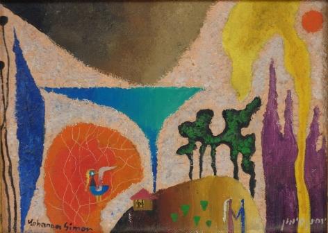 Yohanan Simon Homme de Tendresse Oil on Panel 1969