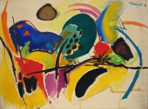 Moshe Rosenthalis Israeli Abstract Landscape Oil on Canvas