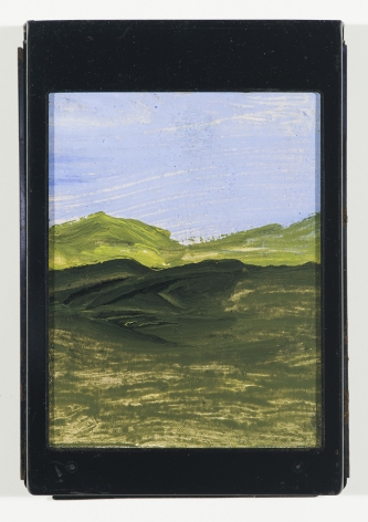 Frank Walter, Landscape, Green Hills, watercolor and oil on polaroid box coverw/ metal cartridge,5 1/4 x 3 3/4inches