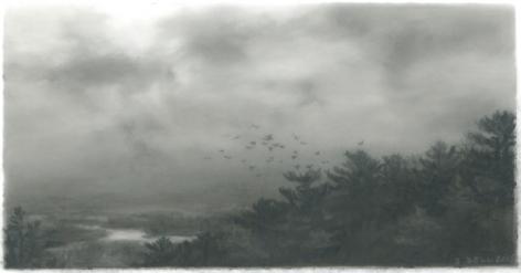 Dozier Bell,Descending, marsh,2015,charcoal on mylar,2 5/8 x 5 inches