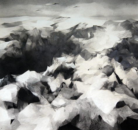 Caleb Nussear,Drones 2,2013,graphite and chalk on paper mounted on sintra,52 x 48 inches