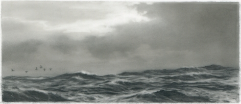 Dozier Bell, Whitecaps, 2015, charcoal on mylar, 2 5/16 x 5 3/8 inches