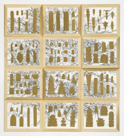 Ellen Harvey, Museum of Ornamental Leaves, 2015, pressed glue ornaments, clay board, acrylic, wood frames, varnish, 69.5 x 76.5 inches