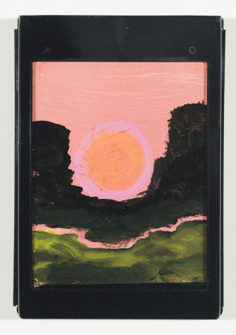 Frank Walter, Landscape, Pink Sky with Sunrise at the Saddle, watercolor and oil on polaroid box coverw/ metal cartridge, 5 1/4 x 3 3/4inches,