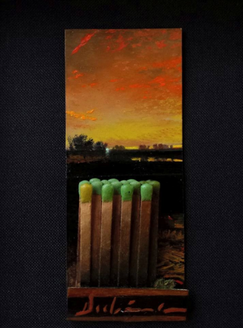 Michael Dubina, This Land Was Made for You and Me (Day 140), 2015, oil on matchbook, 3 3/4x 1 1/2inches