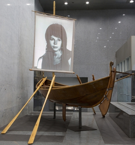 Jessica Segall, Paradise Begins with a Shipwreck, 2013, wood, projector, projectionscreens, 16 x 12 x 12 feet