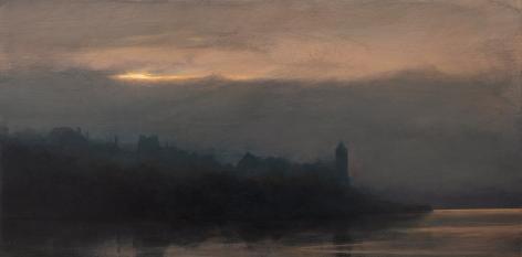 cityscape shoreline sunset