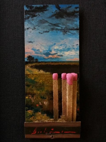 Michael Dubina,Day 131 of the Matchbook Series 2015, oil on matchbookSpring