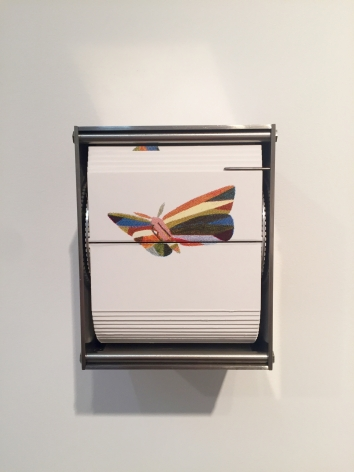 Colorthing, 2015, color screen print, stainless steel motor & electronics, 5 x 4.25 x 3.75 in.