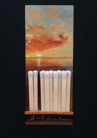 Michael Dubina, Land and Sea (Day 151), 2015, oil on matchbook, 3 3/4 x 1 1/5 inches
