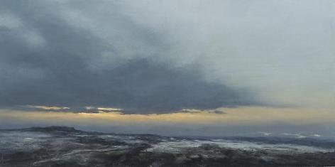 Ridge, 2012,acrylic on panel,12 x 24 inches