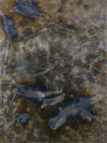 Contingency [Lao Tzu]. 2015, Silver, liver of sulfur, varnish, gesso on linen, 40 x 30 in.