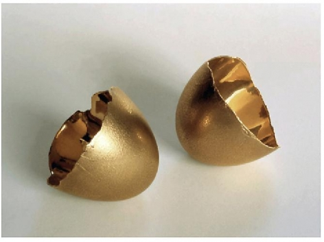 Nothing III, Series 2, 2004, 18 karat gold cast of goose eggshell, 2.5 x 5 x 2.5 inches