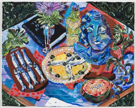 Kate Pincus-Whitney, Feast in the Neon Jungle: Artichokes and Anchovies, 2020