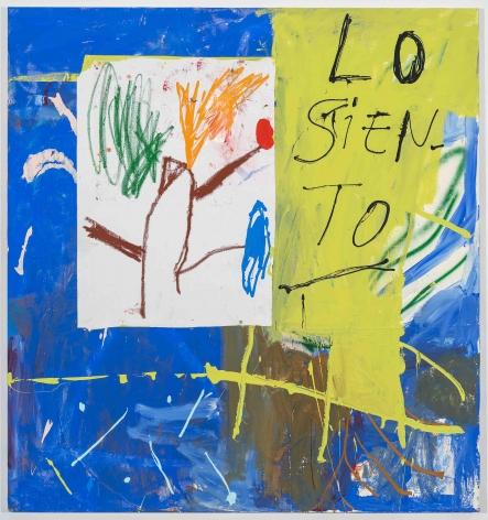 Cristina de MiguelLo Siento,2017Acrylic, oil stick, spray paint, collage on canvas60 x 48 inches