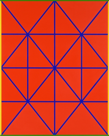 Cary Smith Complex Diagonals #7 (red-blue with yellow-green border), 2017