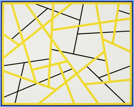 CARY SMITH, Straight Lines #9 (yellow - black, with blue border), 2015