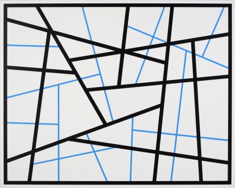 CARY SMITH, Straight Lines #24 (black - blue), 2015