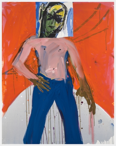 Pornoboy, 2019, Acrylic and enamel on canvas with collage