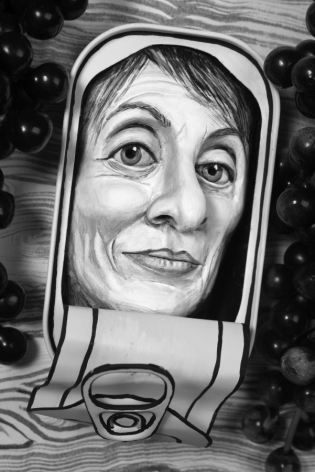 Mary Reid Kelley, Camille Paglia in an Oyster Tin, 2015
