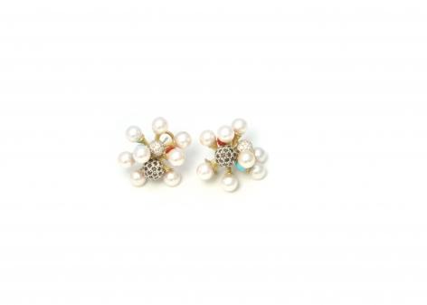 John Iversen Jacks, Jax, earrings, gold, diamond beads