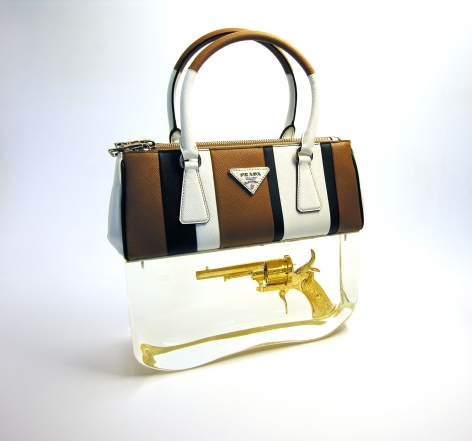 Ted Noten, Dutch Design, acrylic handbag, Prada, golden gun