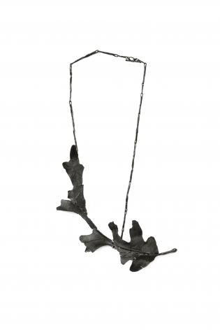 John Iversen, necklace, leaves, leaf, crackle, silver, gold