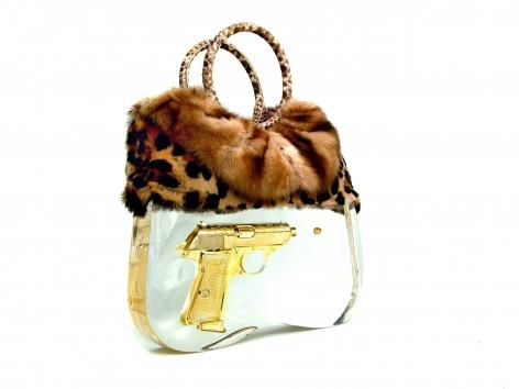 Ted Noten Lady K Bag, acrylic handbag, golden gun