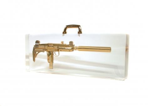 Ted Noten Uzi Mon Amour suitcase, gun, acrylic,