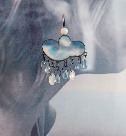 Petra Zimmermann, Austrian jewelry, acrylic, cloud earrings