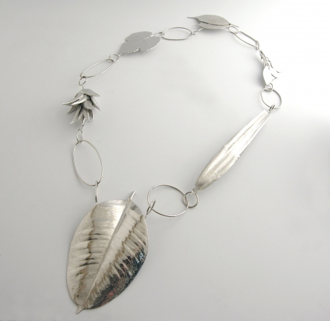 Ted Noten, necklace, Home is Where the Heart Is, silver, leaves