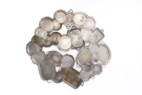 Jaydan Moore platter, wall piece, art, silver plated