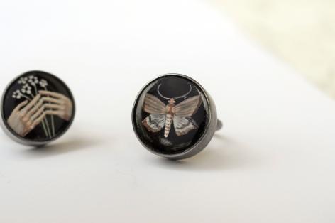 Jutta Klingebiel, moth, ring, enamel