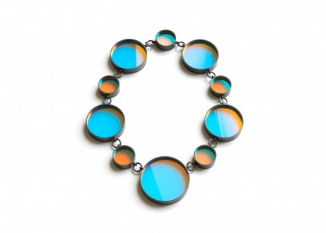 Jiro Kamata, glass jewelry, contemporary, dichroic mirror, necklace