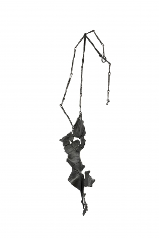 John Iversen, necklace, leaves, leaf, crackle, silver, gold